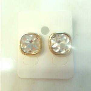 THE LIMITED Square Gold and Crystal Large Studs